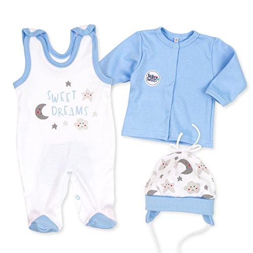 Baby Sweets Baby Set Strampler + Shirt + Mütze Jungen weiß hellblau | Motiv: Sweet Dreams | Babyset 3 Teile für Neugeborene & Kleinkinder | Größe: 9 Monate (74) (Hellblau-strampler-hosen)
