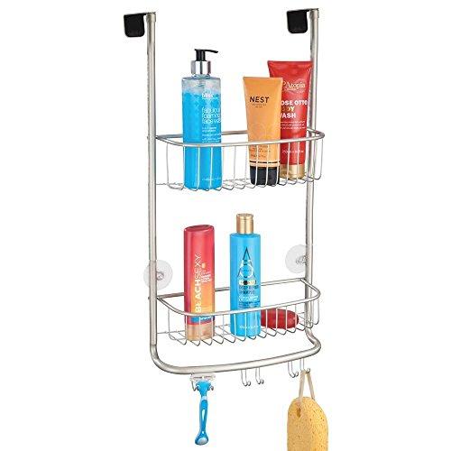 duschkorb haengend edelstahl mDesign Duschablage zum Hängen über die Duschtür - praktisches Duschregal ohne Bohren - mit Saugnäpfen - Duschkorb zum Hängen aus Metall für sämtliches Duschzubehör - mattsilber