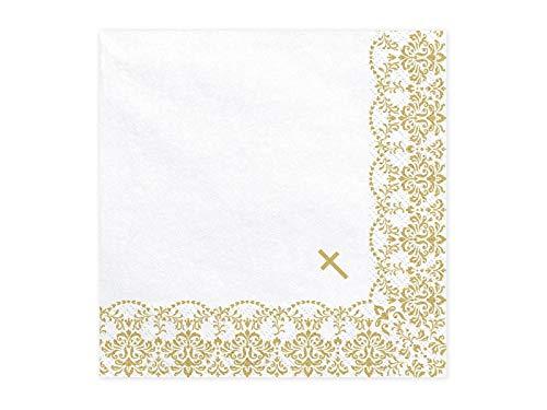 20 Servietten 33x33cm weiß mit goldenem Ornament Kommunion Konfirmation Taufe