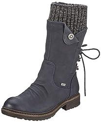 Rieker Damen 94750 Hohe Stiefel, Blau (Ozean/Black-Grey 14), 43 EU