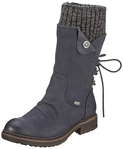 Rieker Damen 94750 Hohe Stiefel, Blau (Ozean/Black-Grey 14), 39 EU