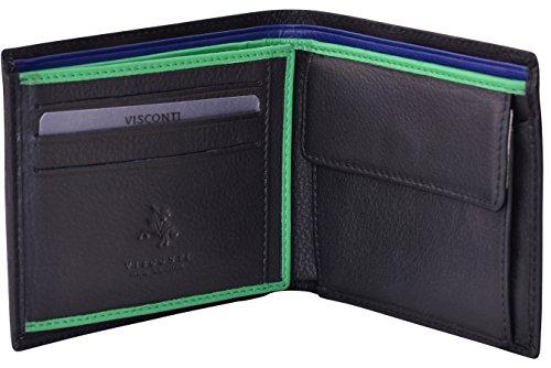 """Visconti portafoglio di pelle da uomo a piegatura tripla """"BOND"""" Luxury Leather Wallet (BD701): (nero/verde (Blk/Green))"""