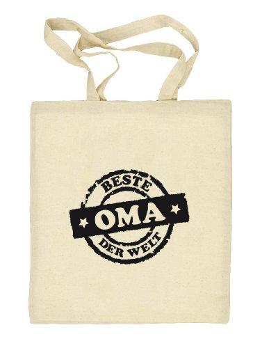 Shirtstreet24, Beste Oma der Welt Stempel, Stoffbeutel Jute Tasche (ONE SIZE) Natur