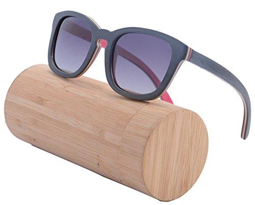 Preisvergleich Produktbild SHINU Holz Sonnenbrillen Frauen Männer Weinlese-Skateboard Wayfarer Glasses Polarisierte Objektiv-Z68006(black-pink, gradient grey)