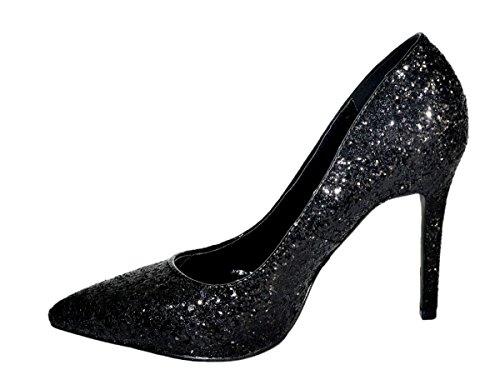 Dentelle femmes escarpins paillettes talons hauts fête talons Chaussures Noir - Noir