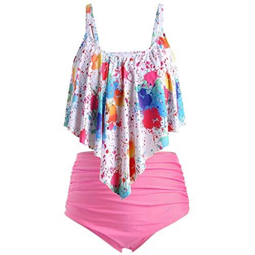 LSAltd Frauen Sommer Sexy Bunte Tie-Dye Push-Up Gepolsterte Plus Size Bikini Set Hohe Taille Badeanzug Beachwear - Frauen Weste Dressing