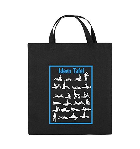 Comedy Bags - Ideen Tafel - SEXSTELLUNG - Jutebeutel - kurze Henkel - 38x42cm - Farbe: Schwarz / Weiss-Neongrün Schwarz / Weiss-Hellblau