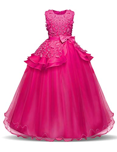 NNJXD Fille sans Manches Broderie Princesse Pageant Robes Enfants Bal Robe de Bal Taille(120) Rose pour Les Filles de 5-6 Ans