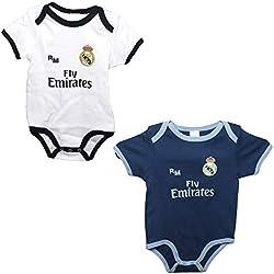 Set 2 Body Real Madrid Niños - Producto Oficial - Temporada 2018/2019 (3 Meses)