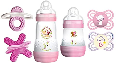 MAM Set - Anti Colic Flasche 160ml & 260ml, Perfect & Perfect Night 0-6 Monate, Bite & Relax Phase 1 & 2 -