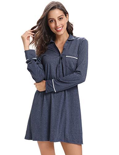 Aibrou camicia pigiama lunga tunica donna camicia da notte autunno invernale manica lunga abbottonata collare a risvolto pigiami dress sleepwear donna