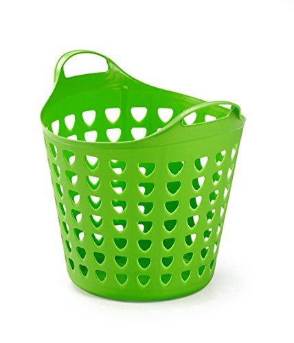 Flexibler Aufbewahrungskorb aus robustem Kunststoff in strahlendem Apfelgrün. Gelocht, mit Nutzvolumen von ca. 35 Liter.
