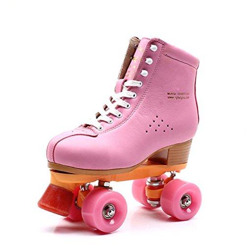 ZZY Roller Skates Quad Indoor/Outdoor High Top Leder Rollschuhe für Jugendliche und Erwachsene Erwachsene, 33 -