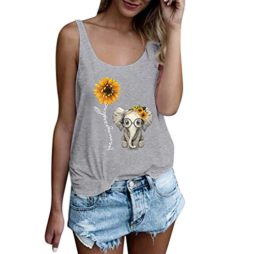 Damen Mädchen Sunflower Elephant Print Shirt, Selou ärmellose Tops Bluse Frauen Oversize Basic One Shoulder Cut Out Kalte Schulter Fitness SprüChe Locker RüCkenfrei Elegante Strandshirts - Womens Guayabera Shirt