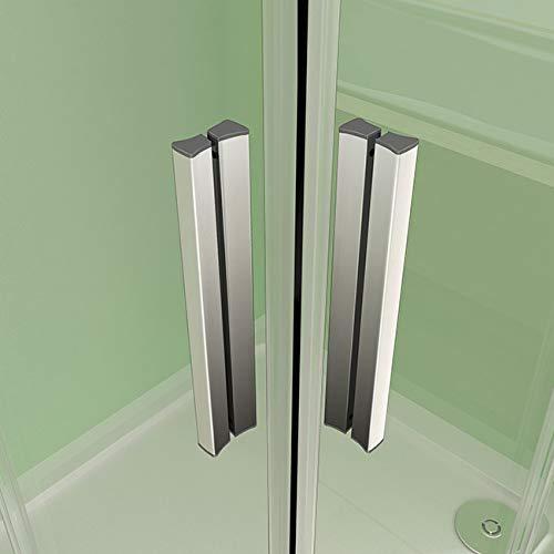 41t%2BMXdHb2L - Mamparas Angular Doble Puertas Correderas Gris Mate Cristal 5mm para Ducha 120x80cm