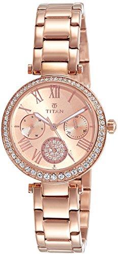 Titan Spring Summer'15 Analog Rose Gold Dial Women's Watch-95023WM01J