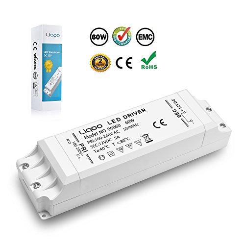 Liqoo® LED Trafo 12V DC Transformator 60W 5A EMC Netzteil Treiber 100V - 240V ohne Mindestlast für G4 MR16 Lampe Stripe Überlastungsschutz Überhitzungsschutz 0,5 - 60 Watt (12v Dc Treiber)
