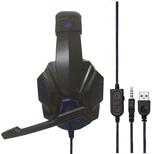 Serie Single-loch (Jinclonder SY830MV Gaming-Kopfhörer, Single Loch, LED, Geräuschunterdrückung, mit Mikrofon, Surround Surround-Sound, Memory-Ohrhörer, weich für PS4 blau)