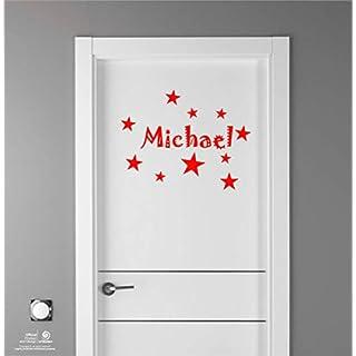 Artstickers Kinder Aufkleber für Möbeldekorationen, Türen, Wände. Name:Michael, In rot, der Name in 20 cm + Zehnerpaket Sterne für freie Anbringung.