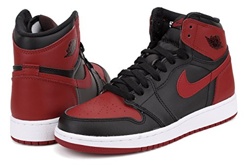 Nike Air Jordan 1 Retro High Og Bg, Chaussures de Basketball Homme Noir (Black / Varsity Red-White)