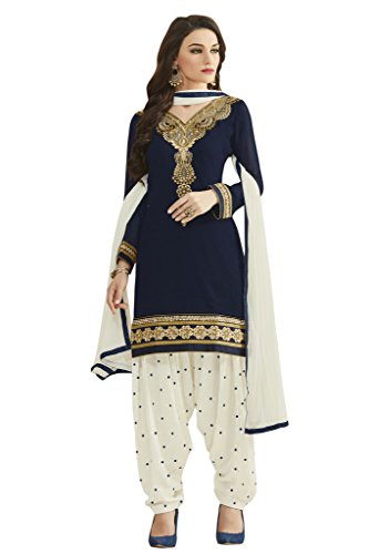 Kvsfab Patiala suit/Punjabi salwar suit/Embroidery salwar Suit/unstitched Georgette dress material,Blue & Orange