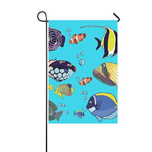 JOCHUAN Home Dekorative Outdoor Doppelseitige Zeichnung Fische Fischkrone Gelbe Garten Flagge, Haus Hof Flagge, Garten Hof Dekorationen, saisonale Willkommen Outdoor Flagge Frühling Sommer Geschenk