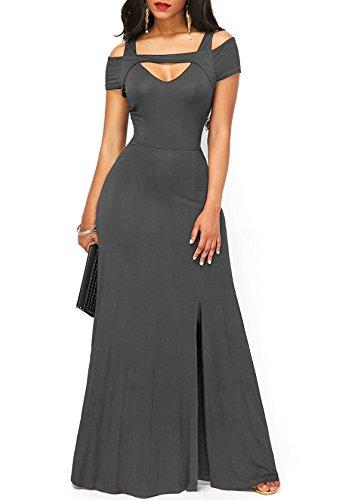 KISSMODA Damen Verdeckter Reißverschluss Kleid Plus Size Formale Lange Maxi Grau X-Large