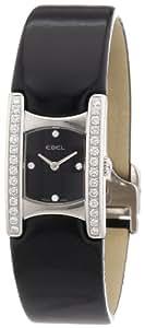 Ebel - Beluga Manchette - 9057A28-561035406 - Montre Femme - Acier Diamants - Quartz Analogique -  Index Diamant - Bracelet Cuir Verni Noir