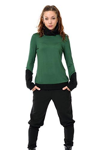 Pull polaire d'hiver de 3Elfen - made in berlin - Sweat Shirt - Manches Longues - Femme vert foncé