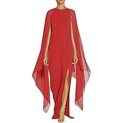 ALIKEEY Las Mujeres Vestido De Gasa Largo Abrigo Split Costura Vestido De Noche Larga Mujer Costura Vestido De Fiesta Vestido De Vaina Split