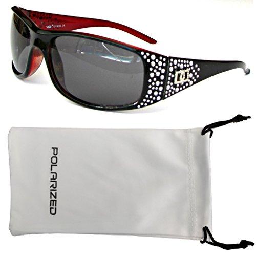 VOX Frauen polarisierte Sonnenbrille Designermode Brillen kostenlos aus Mikrofaser Beutel - Schwarzen & rote Frame - getöntes