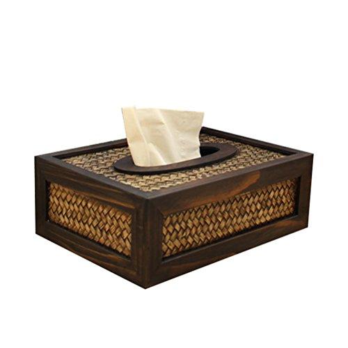 STOBOK Holz Facial Tissue Box Cover-rechteckig, Serviettenhalter, Vintage Papier Behälter für Auto Büro Hotel Home