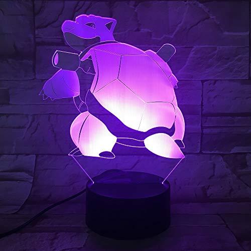 Pokemon Go Blastoise Figur Lampe Nachtlicht Farbwechsel Bett Lampe Atmosphäre Festival Geschenk Tischlampe für Schlafzimmer Blastoise