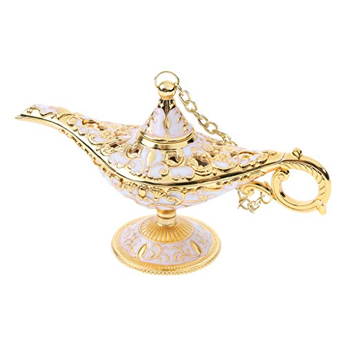 B Blesiya Lampe Leichte Öl Pot Lampr Form Aufbewahrung Für Kleinen Schmuckstücken Ägyptischer Antiken Tisch Dekoration - Gold-Weiß -