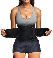 Bingrong Figurformend Bauchweggürtel Neopren Fitness Body Shaper Sport Fitnessgürtel Abnehmen Schwitzgürtel extra stark Sauna- & Schwitzeffekt Sanduhr Figurformer mit Klettverschluss, Grau, L