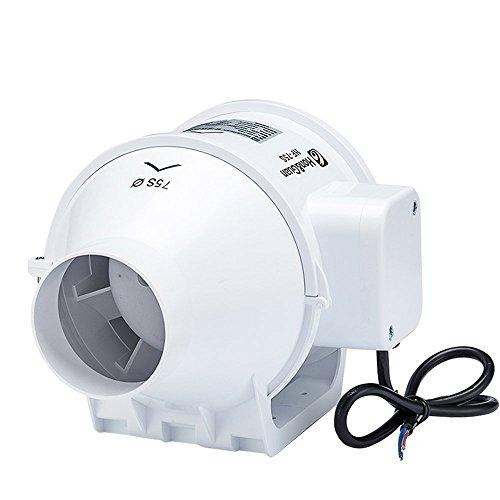 Inline-Lüfter,Hon&Guan 75mm Abluftventilator Hochleistungs Inline Rohrventilator Mischstrom Lüftungsanlage Abluft für Zimmer Badezimmer Küche (75mm standard)