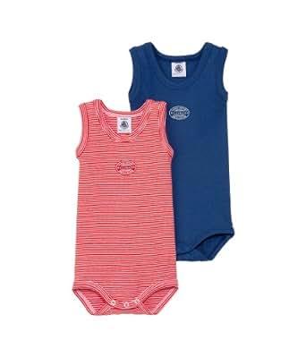 Petit Bateau Baby - Jungen Body Lot 2P Sm, 2Er Pack, Gr. 56 (Herstellergröße: 1M/54Cm), Mehrfarbig (Special Lot 99)