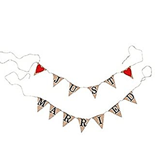 Allbusky Vintage Just Married Sign Jute Burlap Bunting Banner Hessian Flag for Party Wedding Decorations (Red Heart Triangle Just Married)
