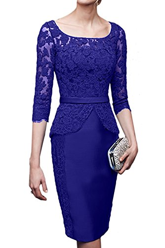 TOSKANA BRAUT Damen Rund Etui Spitze Satin Brautmutterkleid Kurz Arm Abendkleider Partykleider Royalblau