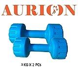 Aurion PVC3 Plastic Dumbbell Set, 6Kg (Blue/Green)