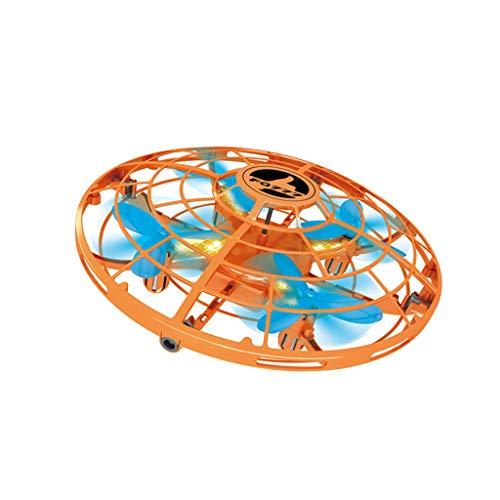 Finebuying Mini UFO Schwebeflug Hubschrauber Schwerkraft Trotzt Handgesteuerten Flugkugel Induktions Drohnen Quadrocopter RTF Schwebeflug ohne Kopf für Kinder Geschenke (Orange)