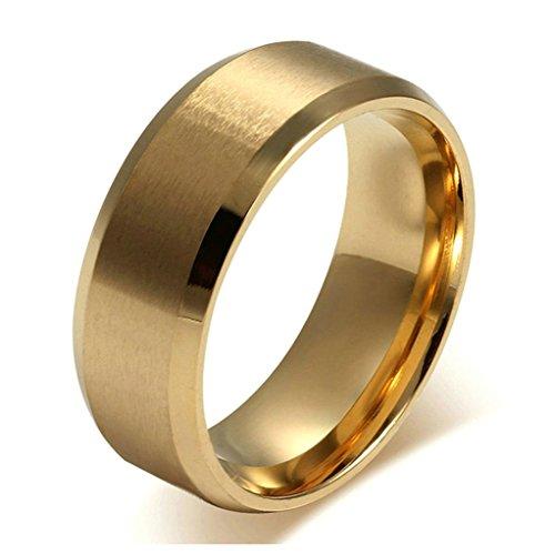 Aooaz Mode Ringe Edelstahl Ring für Männer Gold Edle Breite 8MM Herren Ring Vintage Hochzeit Ringe Größe 52 (16.6) (Männer Gold Iced Out Uhr)