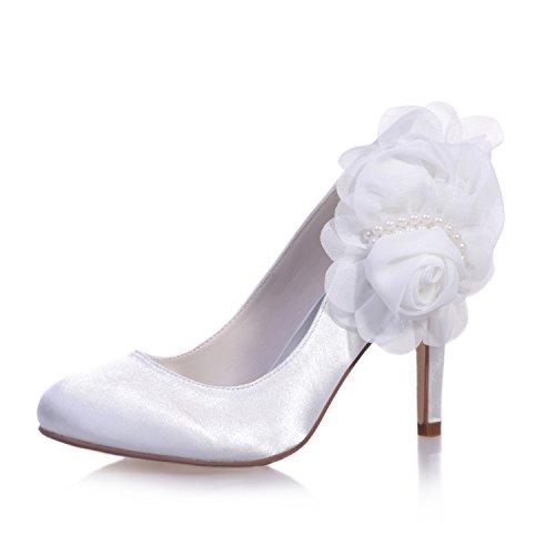 Chalmart Escarpins Mariage Aiguille Chaussure à Talon Femme Soirée élégant Blanc