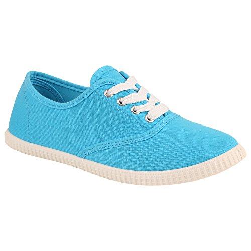 Unisex Basic Sneaker   Damen Sneakers   Herren Sneaker Low   Freizeit Turnschuhe Stoff   Schnürschuhe Hellblau