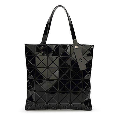 Tanling Sourcingmap Damen Geometrie Bao Tote Schimmernde Handtasche Laser Diamant Gitter Shopper Falttasche Schultertasche, Damen, Schwarz