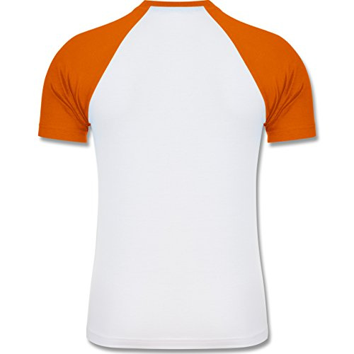 Shirtracer Metal - Metal Horns Skelett Hand - Herren Baseball Shirt Weiß/Orange
