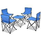 Tidyard 5 pcs Mobilier de Camping Pliant pour Camping ou Pique-Nique 1 Table et 4...