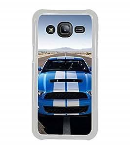Fuson Designer Back Case Cover for Samsung Galaxy J2 J200G (2015) :: Samsung Galaxy J2 Duos (2015) :: Samsung Galaxy J2 J200F J200Y J200H J200Gu (Car Blue Car Car on road Sports car Clear Sky)