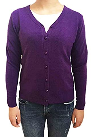 TOOGOO(R) Dark Purple Women Knitted Sweater V-neck Long Sleeve Cashmere Cardigan