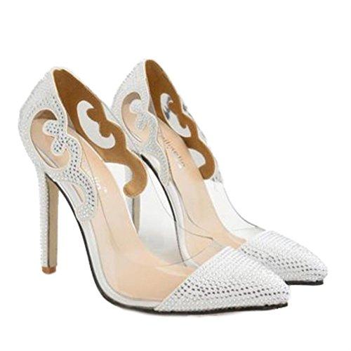 Xianshu Transparente Glas Kleber Spitze Diamant Schuhe spitze High Heel Schuhe(Weiß-35)
